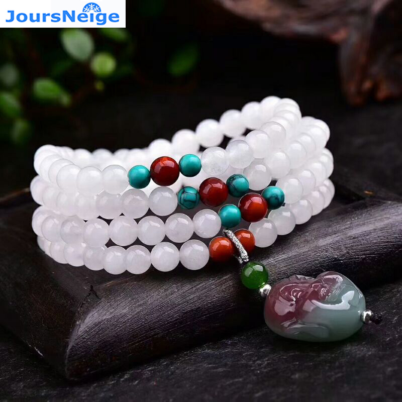 Fine JoursNeige White Natural Stone Bracelets Buddha Head Pendant Bead Sweater Chain Necklace for Women Men Bracelet Jewelry fashionable women s bead designed ellipse sweater chain necklace