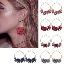 HOCOLE Fashion Fabric Flower Drop Earrings For Women 2019 Statement Colorful Metal Circle Big Hoop Earring Jewelry Wedding Gift