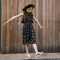 2018 Yeni geldi Sıcak satmak Kızlar titreme elbise bebek Kız Diz Boyu kolsuz Kore stil Draped Çocuk elbise için 5-14 Y