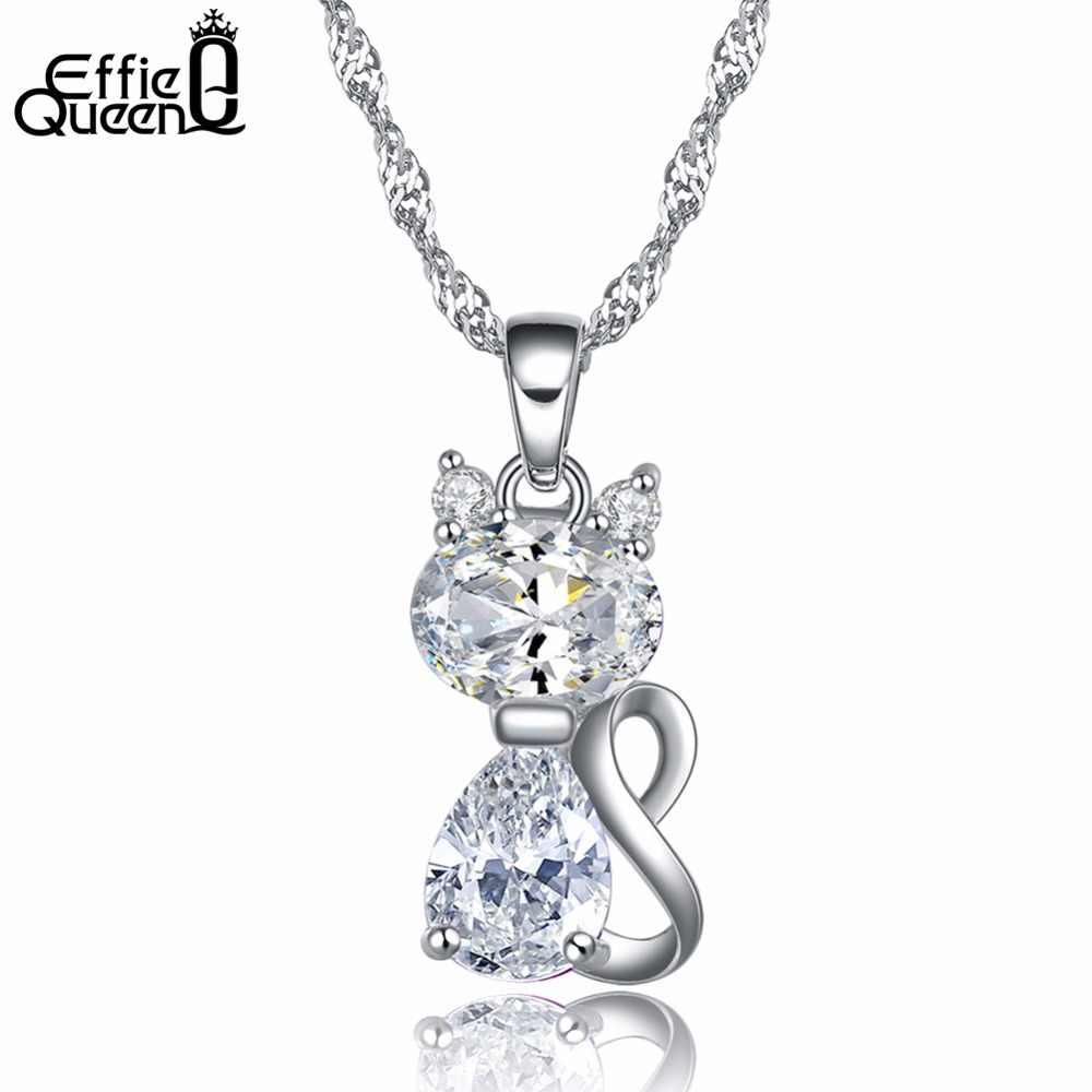 Effie Queen  Lovely Cat Design Necklace Brilliant Cubic Zircon 2 Color  Pendant Necklace for Girls and Women  DN77