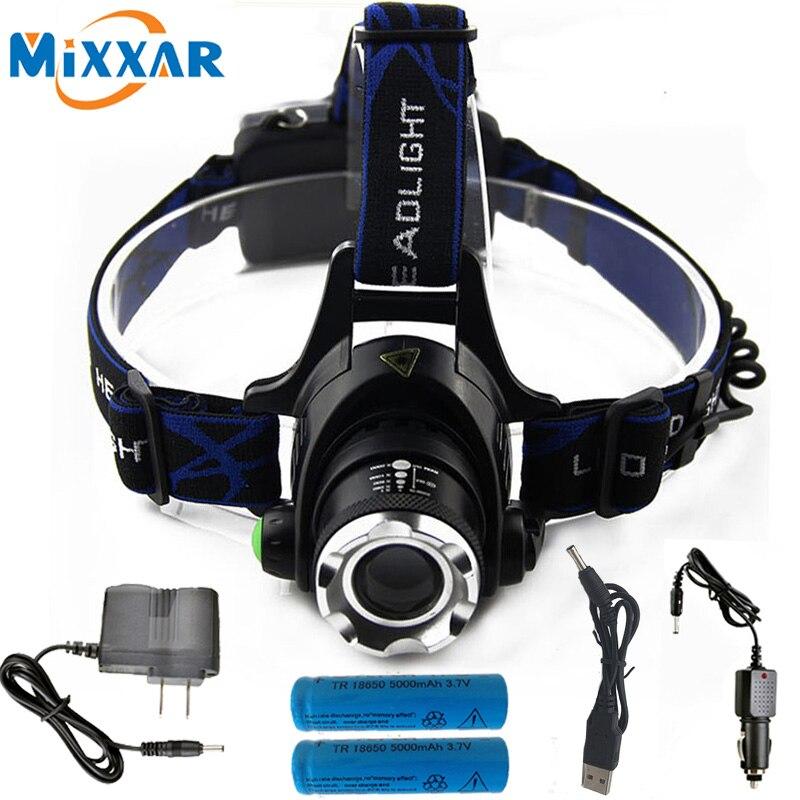 6000LM cree xm-l T6 LED del faro de zoomable impermeable linterna cabeza lámpara pesca caza Luz