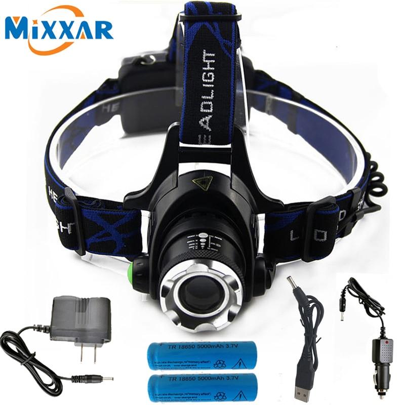 S 6000LM Cree XM-L T6 L2 Led Headlamp Zoomable Headlight Waterproof Head Torch flashlight Head lamp Fishing Hunting Light