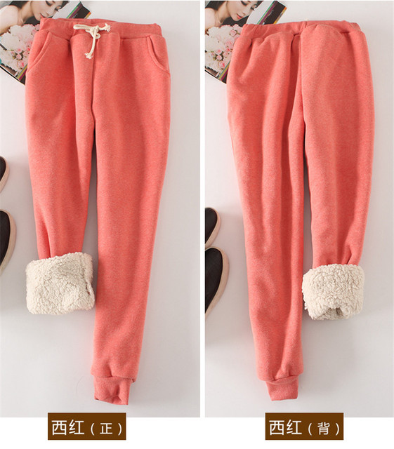 Women Pant Winter Thick Lambskin Cashmere Pants Warm Casual Pants Loose Harlan Pants Long Trousers 6