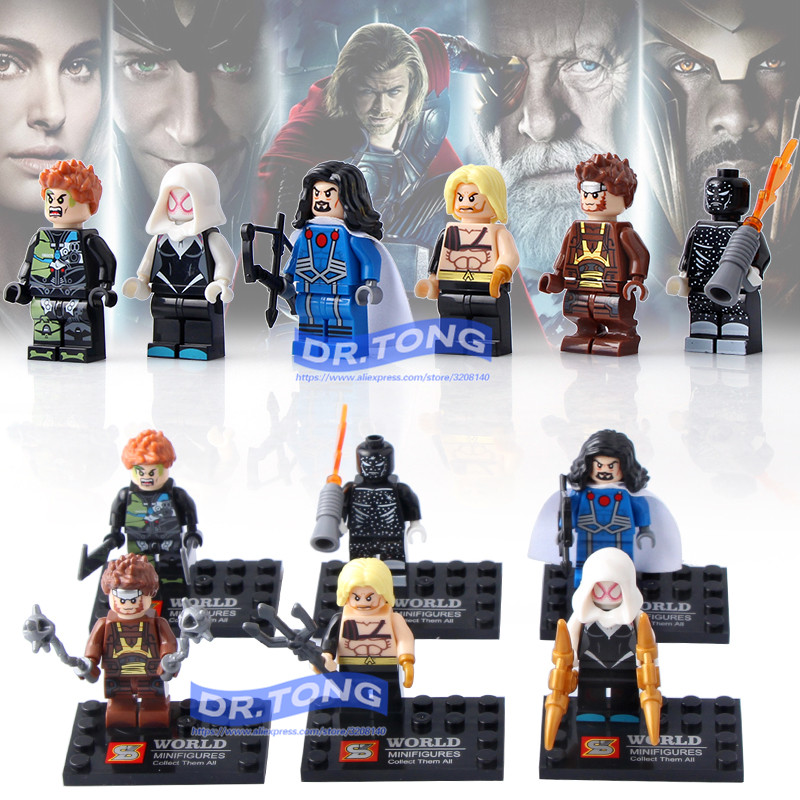 DR.TONG 60PCS/LOT SY673 Super Hero Aquaman Spider Man Iron Man Thor Captain America Bricks Building Blocks Education Action Toys
