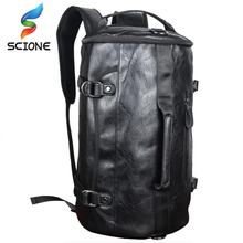 Hot PU Leather Outdoor Sports Gym Bag For Men with shoes pocket Training Backpack font b