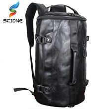 Hot PU Leather Outdoor Sports Gym Bag For Men with shoes pocket Training Backpack Fitness Shoulder Bag Waterproof Travel Handbag