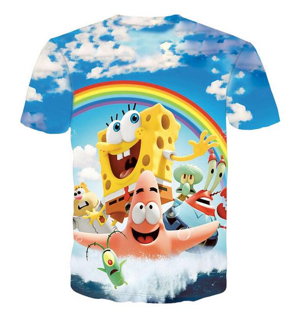 Clássico anime Spongebob T Camisa dos homens/mulheres casual t-shirt 3d estilo bonito dos desenhos animados curto-de mangas compridas camisas de verão tees plus size M-XXL