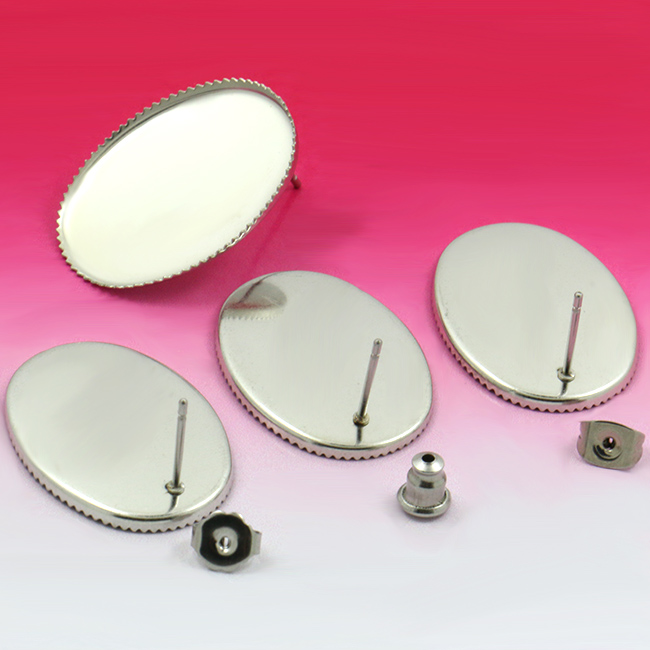 20sets DIY 18 * 25 mm ellipse stainless steel water droplets teeth stage Hanging empty tray brank base Stud earring