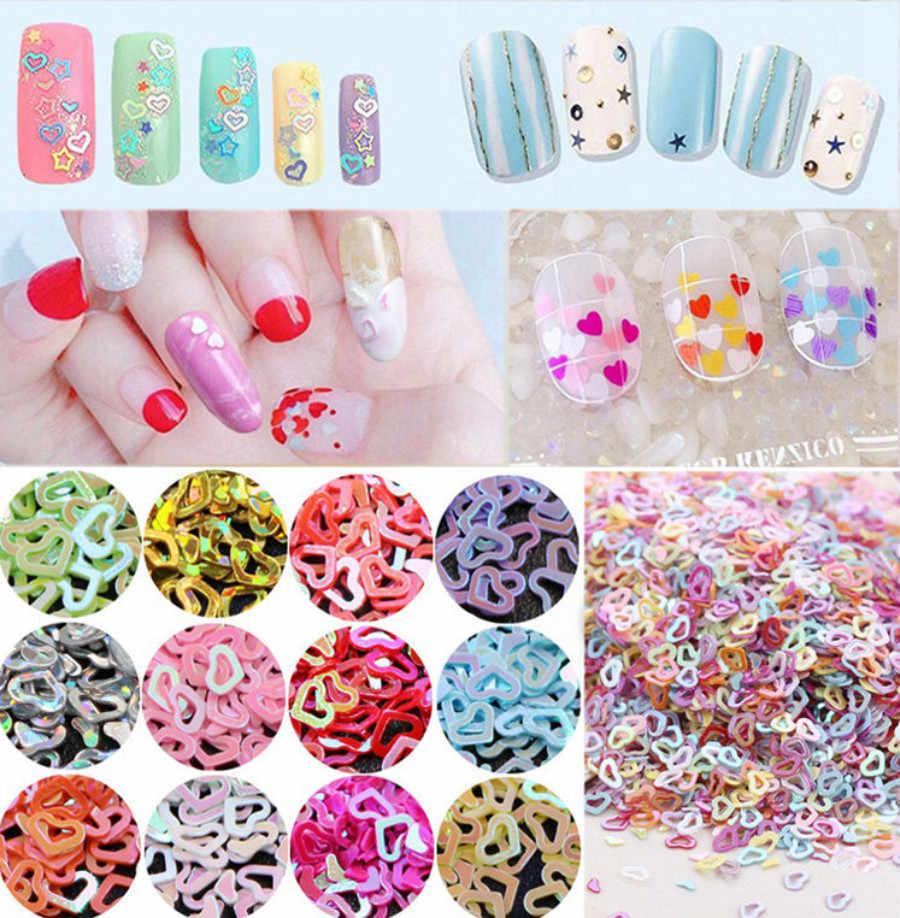1 Box Nail Art Glitter Paillette Gemengde Kleur 12 Ontwerpen Mini Hart Hot Fashion Shining Manicure Glitter Pailletten Nail Decoratie