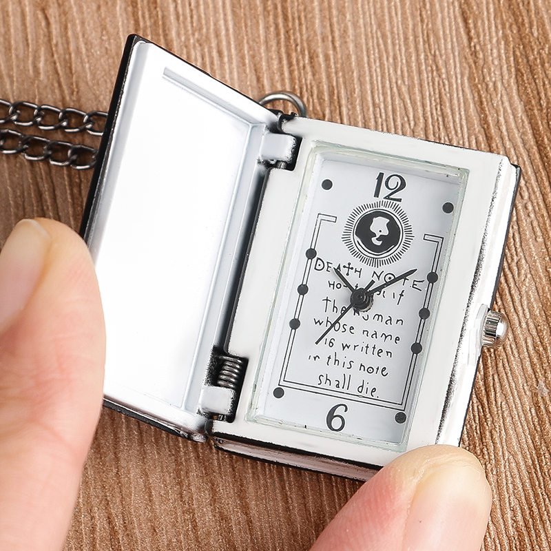 Steampunk Cool Death Note Quartz Pocket Watch Small Size Black Book Shape Neckalce Pendant Men Women Children Birthday Gift