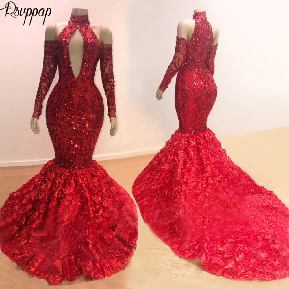 Long Sparkly Prom Dresses 2020 Mermaid High Neck Long Sleeve Red Sequin African Black Girl Flowers Prom Dress Prom2k19
