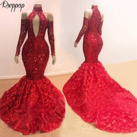 Long Sparkly Prom Dresses 2019 Mermaid High Neck Long Sleeve Red Sequin African Black Girl Flowers Prom Dress Prom2k19