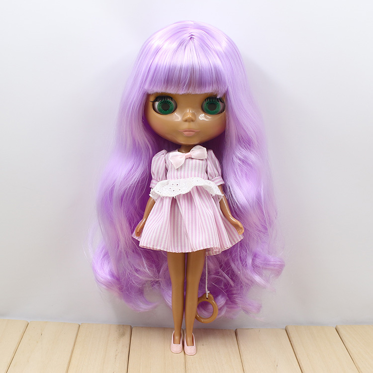 Nude blyth doll Purple long hair can change 19 joint body DIY blyth doll toys blygirl blyth doll golden wave curls doll no 31bl74 joints body 19 joints normal skin the hand can be rotated