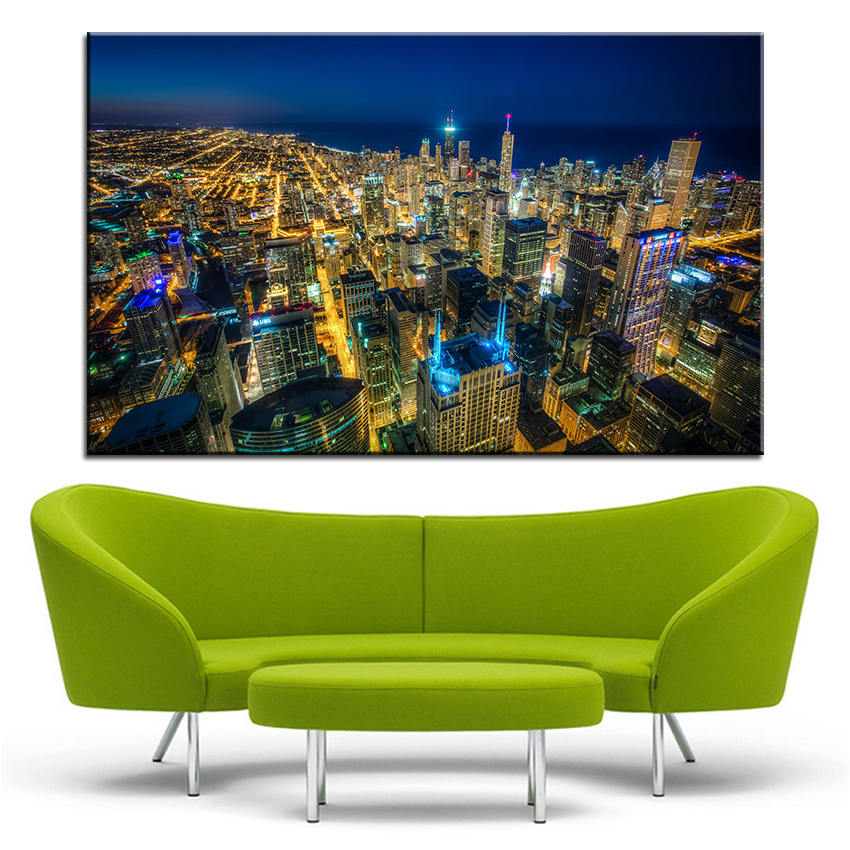 Large size Printing Oil Painting chicago skyscrapers Wall painting Decor Wall Art Picture For Living Room painting No Frame
