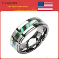 Free Shipping!Wholesales Price! USA Hot Selling Women&Men's Classic Silver Tungsten Carbide Wedding Ring With Abalone Shell Ring
