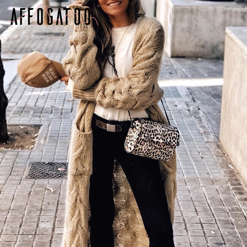 Affogatoo Vintage Mohair Long Knitted Cardigan Women Casual Long Sleeve Female Jumper Cardigans Streetwear Winter Sweater Ladies