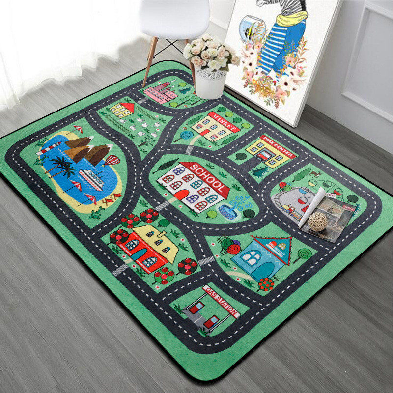 Thick Town City Blanket Traffic Baby Crawling Mat Polyester Foam Climbing Pad Green Road Child Play