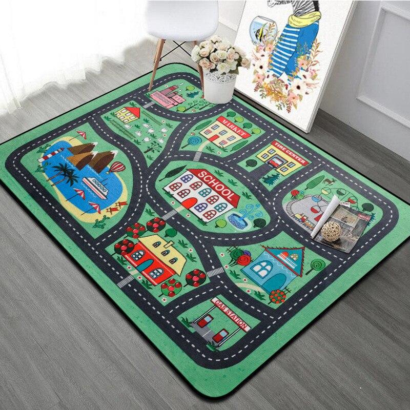 Épaisse ville ville couverture trafic bébé ramper tapis Polyester mousse escalade Pad vert route enfant tapis de jeu tapis pour bébé
