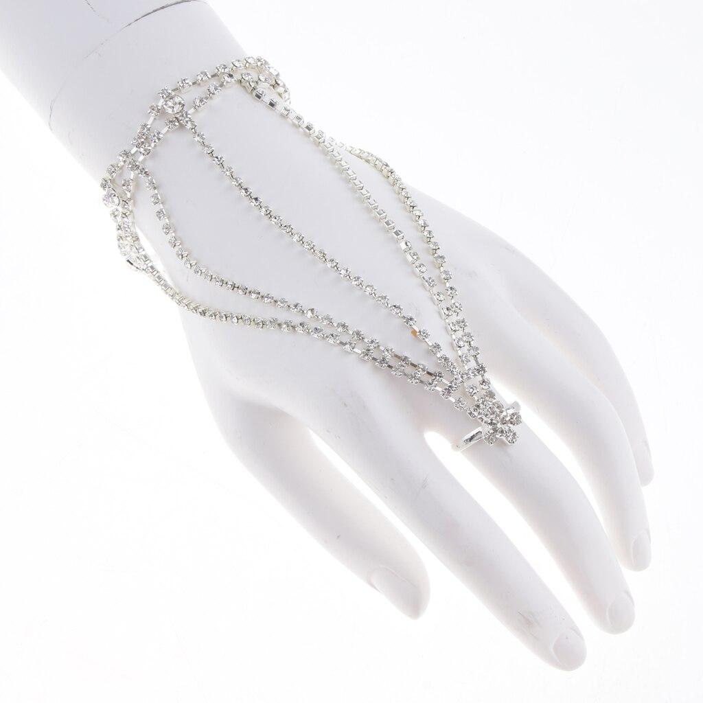 Elegant Lady Girls Multilayer Bracelet Bangle Finger Hand Chain Jewelry for Women