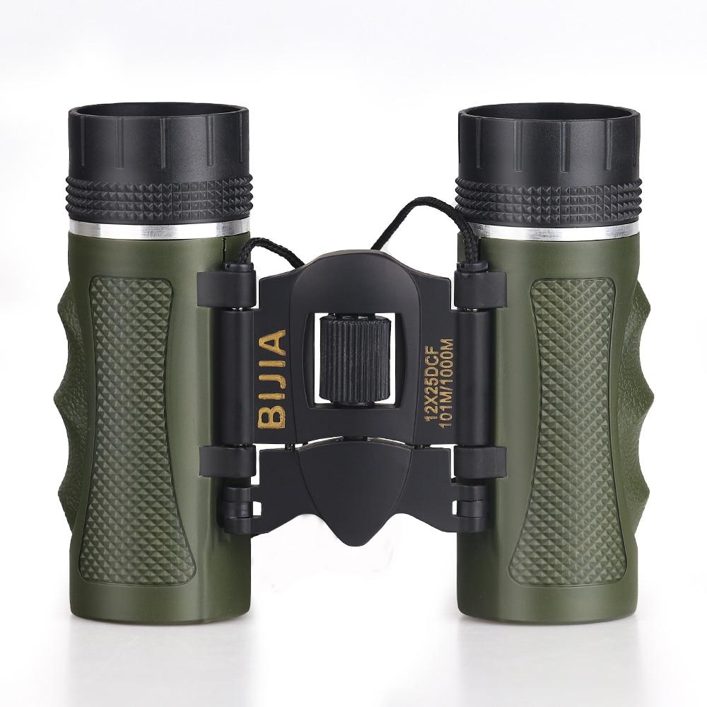 BIJIA 12x25 Mini Day Light Telescope Professional Binocular Outdoor Travel Folding Binoculars Living Waterproof norin 12x25 black