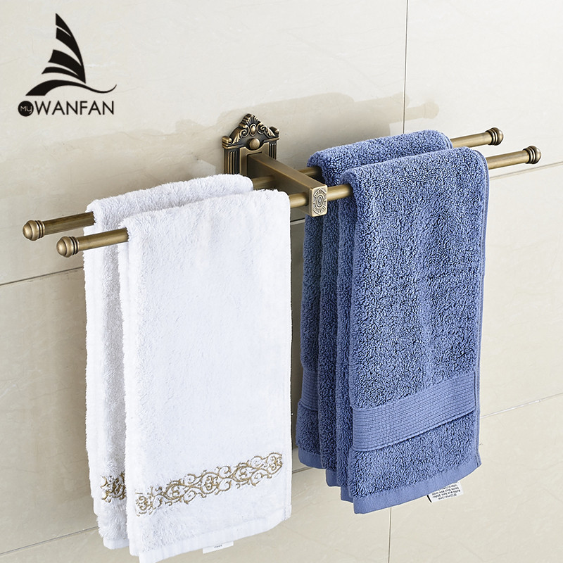 European Towel Bar Antique Brass Towel Holder Double Layers Towel Rack Wall Mounted Bathroom Accessories Towel Ring WF-71223