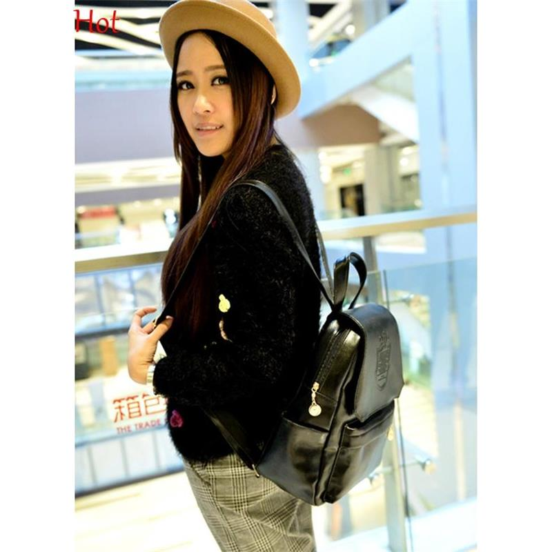 d8072c40e697 2015 New Women Simple Backpack Fashion Leather Brown Blue Black School Bag  For Girls Large Capacity Shoulder Travel Bag SV014644-in Backpacks from  Luggage ...