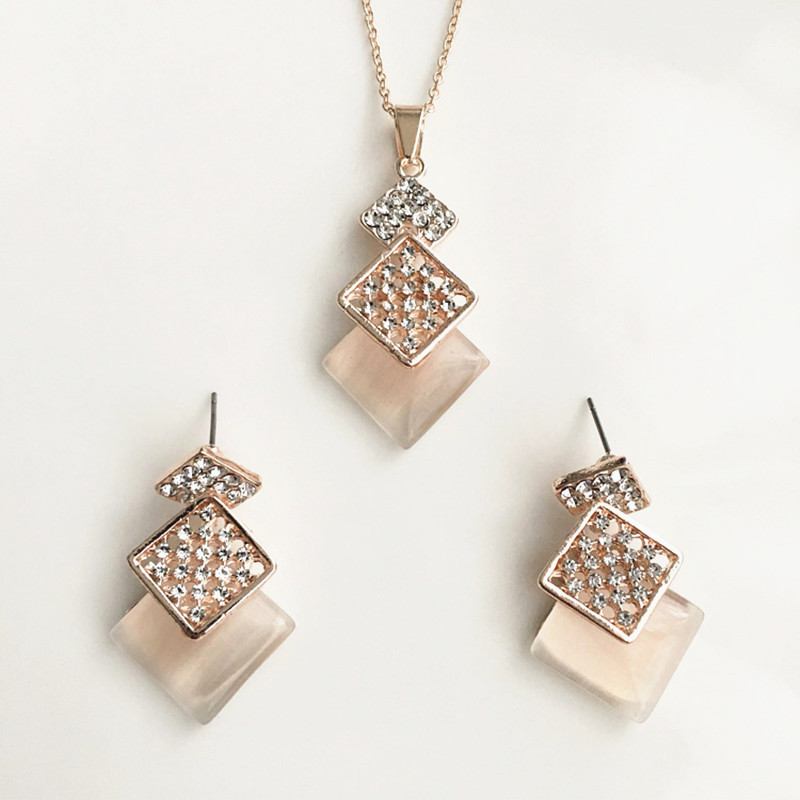 2018 Women charming jewelry sets square box crystal rhinestone necklace earrings jewelry sets for girls party fine bijoux gift
