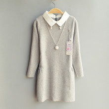 6T to 12T kids & teenager girls knitted pullover long sweaters with necklace child cotton casual autumn winter cashmere sweater