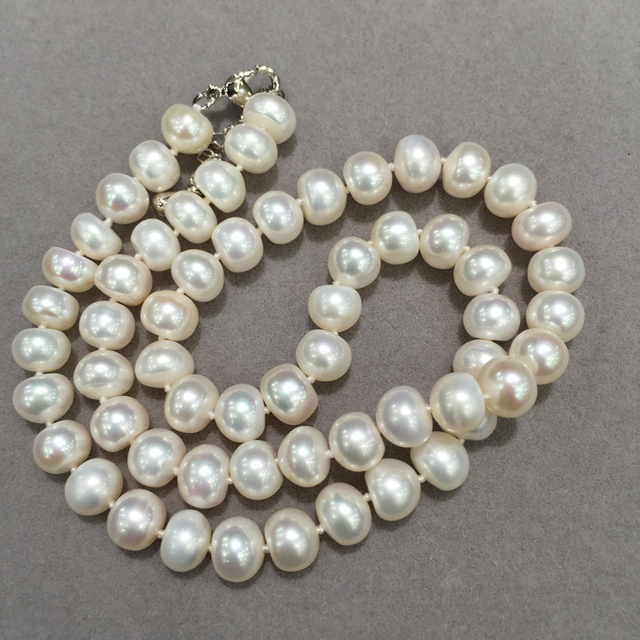 wholesale 8-9MM  Natural fresh Water Pearl Necklace flat round fashion women jewelry free shipping  20pcs/lot mix order