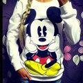 2016 Nueva Primavera Otoño Mujer/Chica minnie Mouse Traje de Impresión de algodón Mujeres de Dibujos Animados Sudadera Sudaderas Jerseys Chándal S-XL
