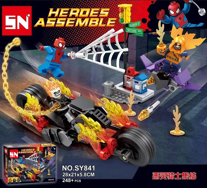 SY841 Spider-Man Ghost Rider Team-UP Motorcycle Hobgoblin Super Heroes AVENGERS Assemble actionFiguras Building Blocks Kids ToysSY841 Spider-Man Ghost Rider Team-UP Motorcycle Hobgoblin Super Heroes AVENGERS Assemble actionFiguras Building Blocks Kids Toys