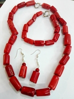 Woman Jewelry Necklace Set 17mm Hot Red Coral stone cylinder beads Necklace bracelet dangle Earrings