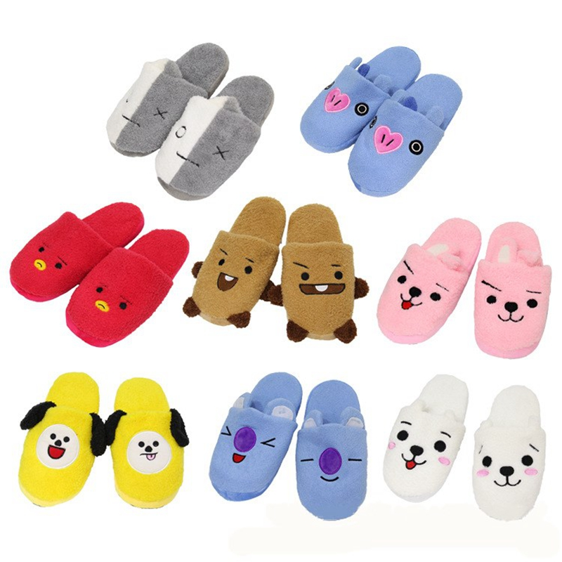 kPOP Bantang boys BTS BT21 Anime Kawaii Home Soft Warm Plush Slippers Household Slippers Cartoon Shoes Costume