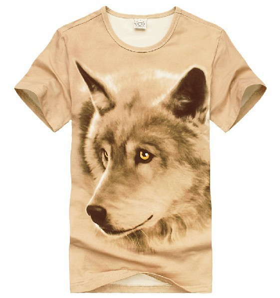 (Free Shipping)Golden Eye Wolf Character Pattern Printing Three-dimensional Creative Animal 3D T-shirt Men's Short Sleeve Tee