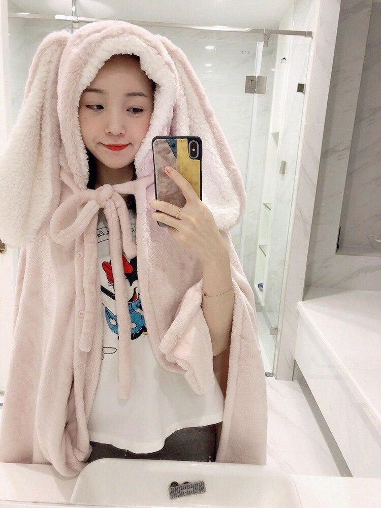 Cute Pink Comfy Blanket Sweatshirt Winter Warm Adults and Children Rabbit Ear Hooded Fleece Blanket Sleepwear Huge Bed Blankets 65