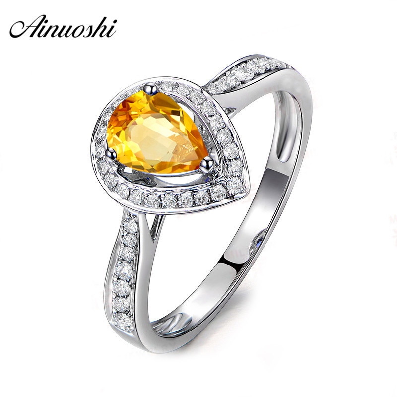 AINUOSHI Natural Citrine Teardrop Ring Pure 925 Sterling Silver Halo Ring 1ct Oval Cut Gemstone Engagement Jewelry Women RingAINUOSHI Natural Citrine Teardrop Ring Pure 925 Sterling Silver Halo Ring 1ct Oval Cut Gemstone Engagement Jewelry Women Ring