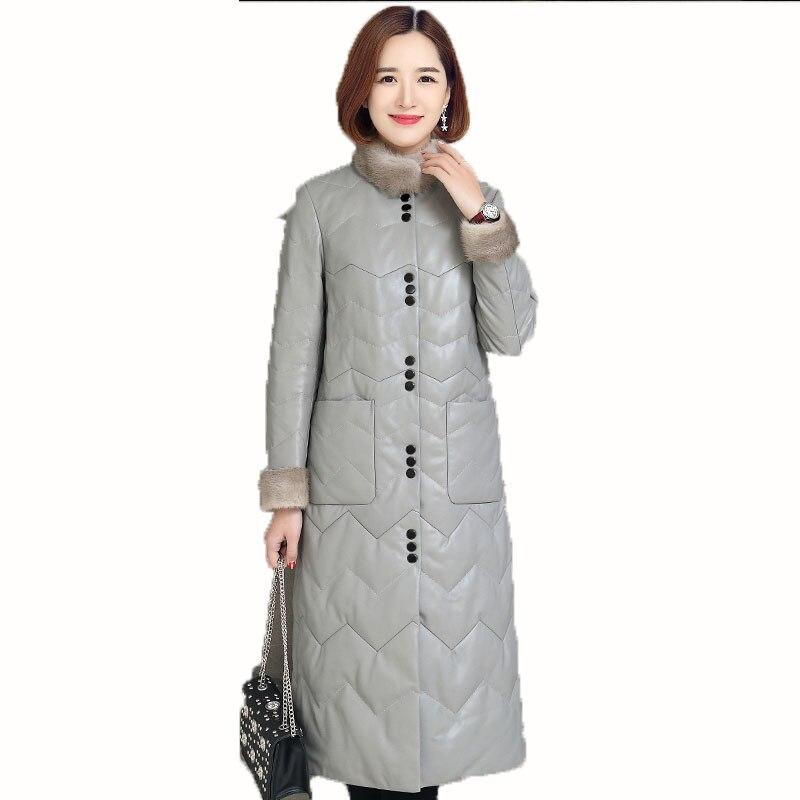Натуральная кожа куртка Для женщин норки меховой воротник Осенне-зимнее пальто женская одежда 2018 корейский тонкий пуховик дубленка ZT845