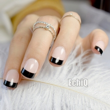 ФОТО 24pcs/set natural french short false nails nude black fake nails lady full artificial pre designed nail art tips