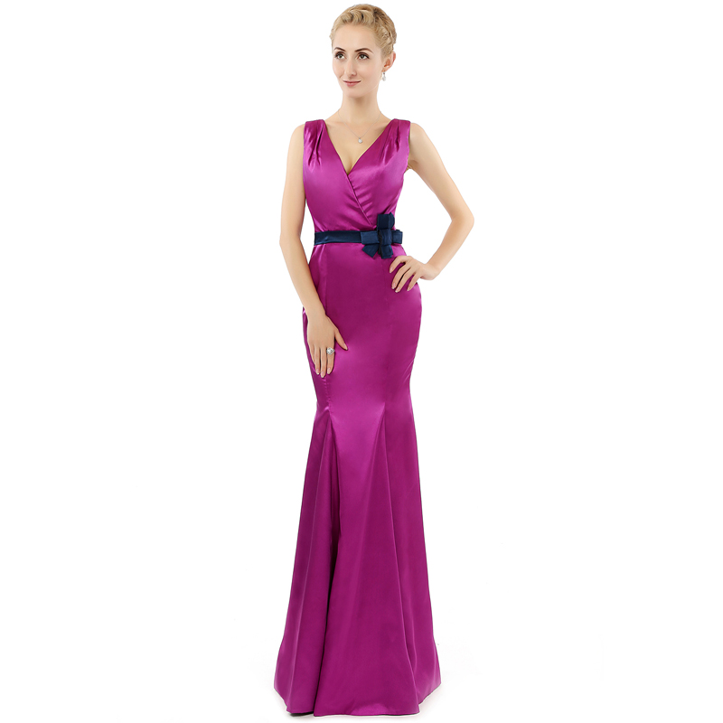 ୧ʕ ʔ୨Free Shipping Vestido Longo Hot Pink Satin V Neck Sheath Prom ...