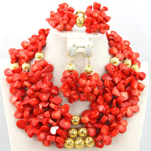 Mustard Yellow African Coral Bead Necklace Set Chunky Fashion Beads Jewelry Set Handmade Style CR301