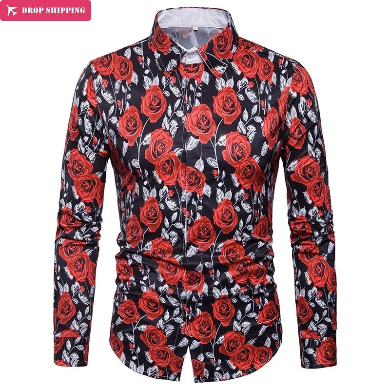 Luxury Men's Rose Flower Print Long Sleeve Dress Shirt Slim Fit Chemise Homme 2019 Brand New Casual Stylish Shirt Men Camisa 3XL