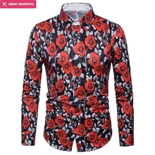Luxury Men's Rose Flower Print Long Sleeve Dress Shirt Slim Fit Chemise Homme 2018 Brand New Casual Stylish Shirt Men Camisa 3XL stylish shirt collar slimming flower print long sleeve polyester shirt for men