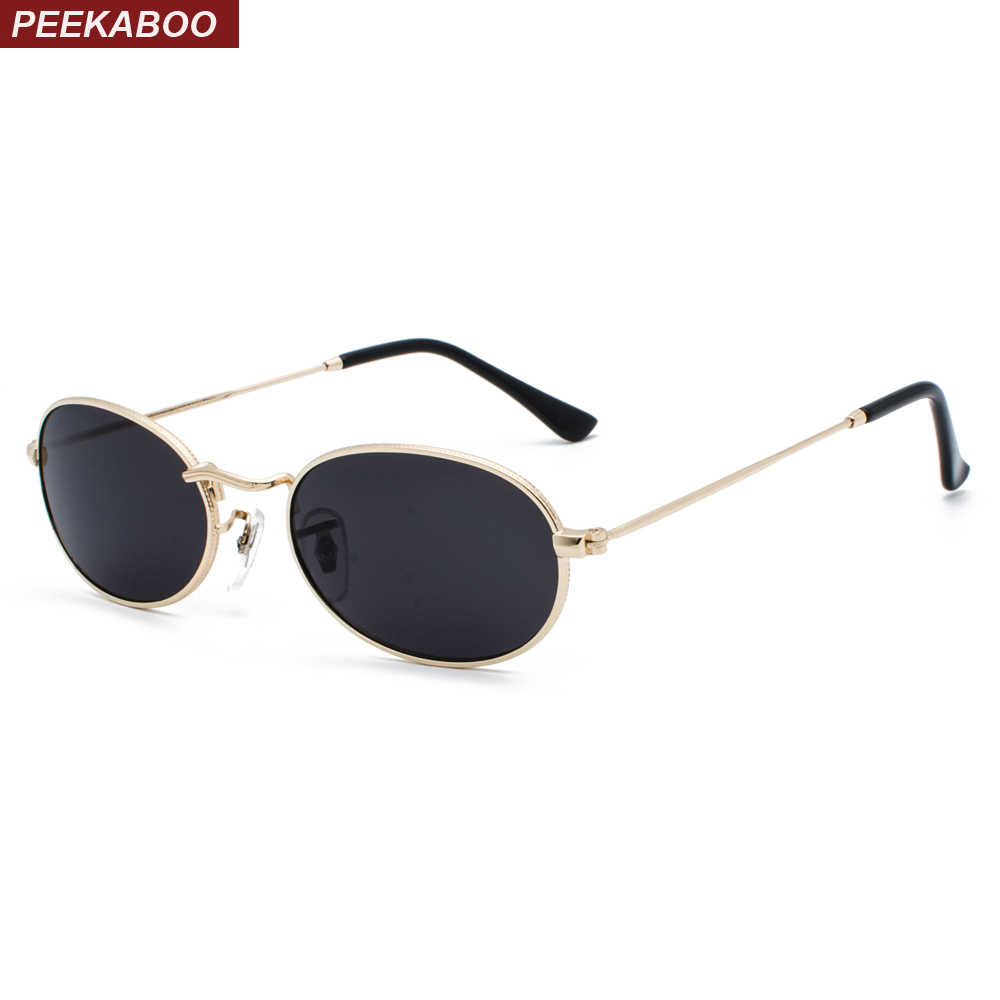 c44b0abcd Peekaboo gold vintage oval sunglasses women metal frame 2019 yellow red  small sun glasses for men