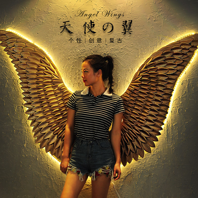 Large Ancient Iron Wall Decoration Angel Wings With LED Creative Retro Wings Bar Cafe Wall Decor. Iron Home Decor Accessories