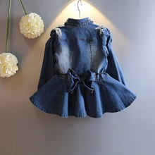2016 New Arrival Baby Girls Long Sleeve Denim Dresses Girls Fashion bowknot Denim Dress Kids Dress-style Blouses