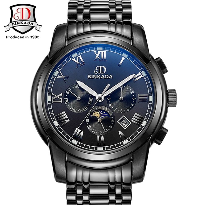Watches font b Men b font Original BINKADA Automatic Watches Relogio Masculino Luxury Brand Waterproof font