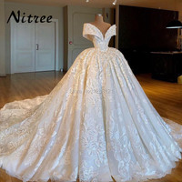 Arabic Muslim Ball Gown Wedding Dresses Turkish Dubai Lace Off The Shoulder Formal Bridal Dress African Moroccan Kaftan Glitter