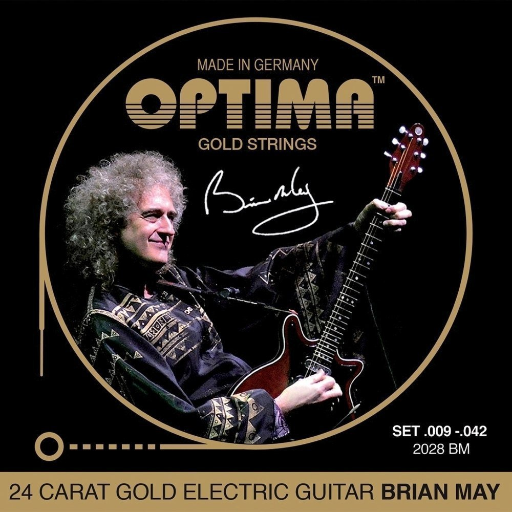 Optima 2028BM 24K GOLD Electric Guitar Strings Brian May Set 09-42, Made in Germany