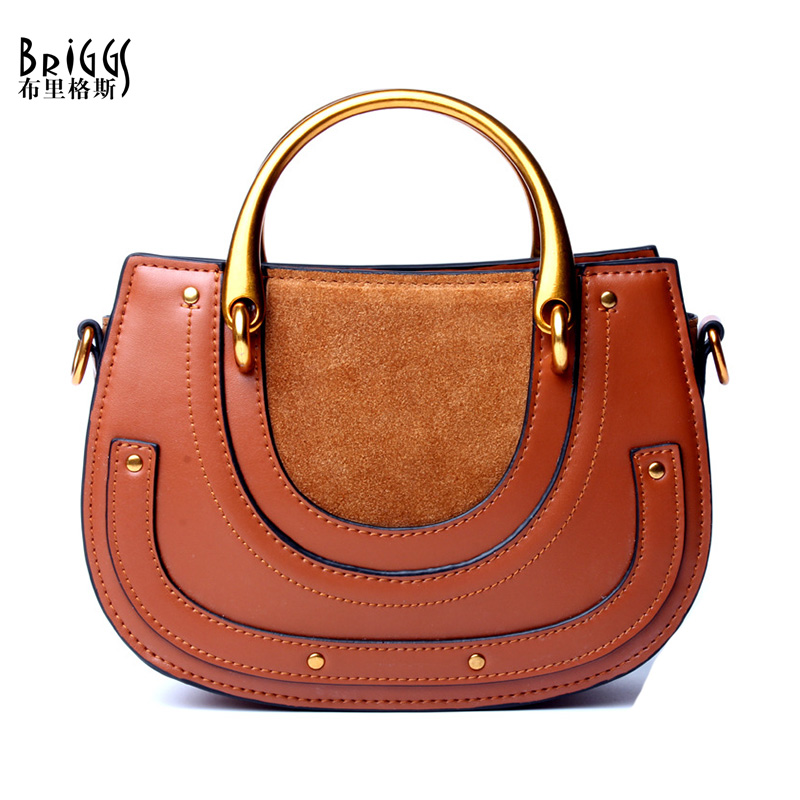 BRIGGS Brand Vintage Genuine Leather Bags Designer Handbag Women Messenger Bags High Quality Shoulder Bags Bolsa Feminina 2017 women handbag leather shoulder bags fashion totes female purse high quality six piece set designer brand bolsa feminina 2018 new