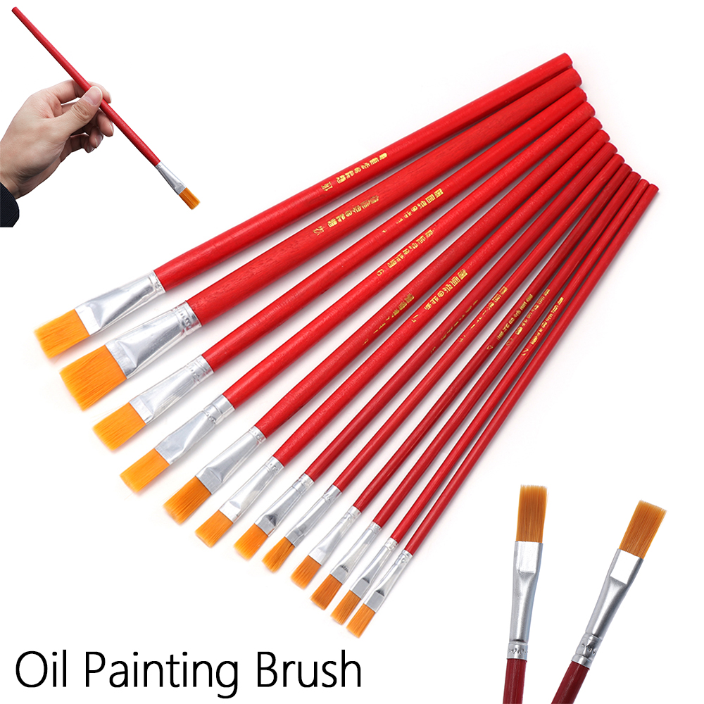 Paint By Number Pens & Brushes Home & Garden Precise 6/12pcs New Nylon Hair Watercolor Acrylic Oil Painting Brushes Red Artist Paint Brush Set Drawing Art Supplies Diy Accessory